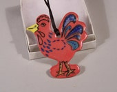 Rooster Ornament - Handmade Porcelain in Red with Navy and Bright Blue Plummage