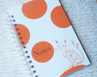Modern Design Sprial Notebook / Journal featuring Sophisticated orage Cat. Modern Stationery.