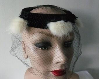 Vintage Veil Black Velvet with Cream White Fur and Bows Hat Retro Formal