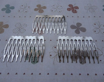 50 pcs Nickel Free Silver Plated Hair Comb with 10 Teeth Barrette Pin 53x38mm