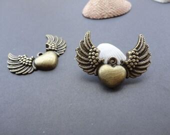 20pcs 26mmx28mm heart wings Antique Bronze Retro Pendant Charm For Jewelry Pendant