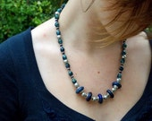 lapis lazuli and blue glass necklace