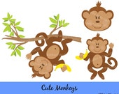 Instant Download - Cute Monkeys Clip Art - Personal and Commercial Use DS112