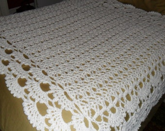 New(Ready to Ship) Crocheted  Afghan -  Throw -  Blanket - Bedspread - Large   ''SHELLS GALORE''  in White