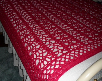 Crocheted  Afghan -  Blanket -  Coverlet  - Throw - Bedspread XLarge  ''BOUDOIR''   in Fuschia