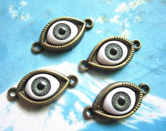 10pcs 30x15mm antiqued bronze Evil Eyes connector charms findings