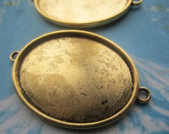 New COME Heavy and large 5pcs antiqued gold oval bezel base metal setting connectors---30x40mm for the inner cavity