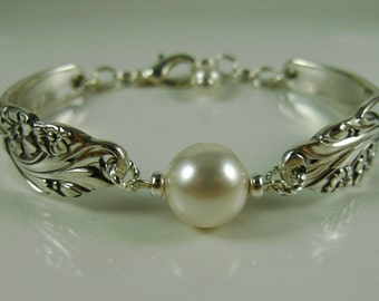 Bracelet Handmade out of Antique Silverware with Swarovski Crystal Pearl