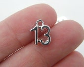 BULK 50 Number 13 charms silver plated