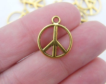 10 Peace sign charms antique gold tone GC5