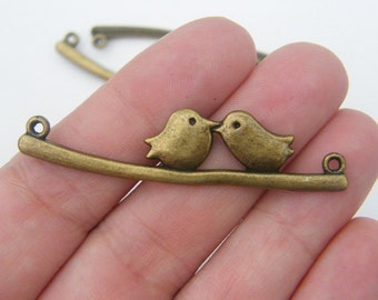 4  Bird on a branch connector charms antique bronze tone BC50
