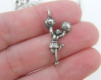 8 Cheerleader charms antique silver tone SP88