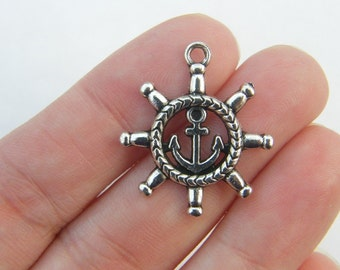 6 Helm and Anchor Pendants antique silver tone SC4