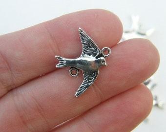 BULK 50 Bird swallow connector charms antique silver tone B58