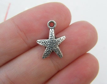 12 Starfish charms antique silver tone FF211