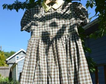 Back to School Plaid Puff Sleeve Cute Cotton Dress Girls 4T - 5T - 6T Mid Century