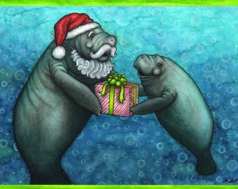 Manatee Claus Holiday Card