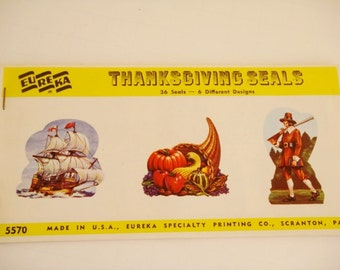 Thanksgiving Seals 36 Seals 6 Designs - Original  Package vintage used stock of Gummed Seals
