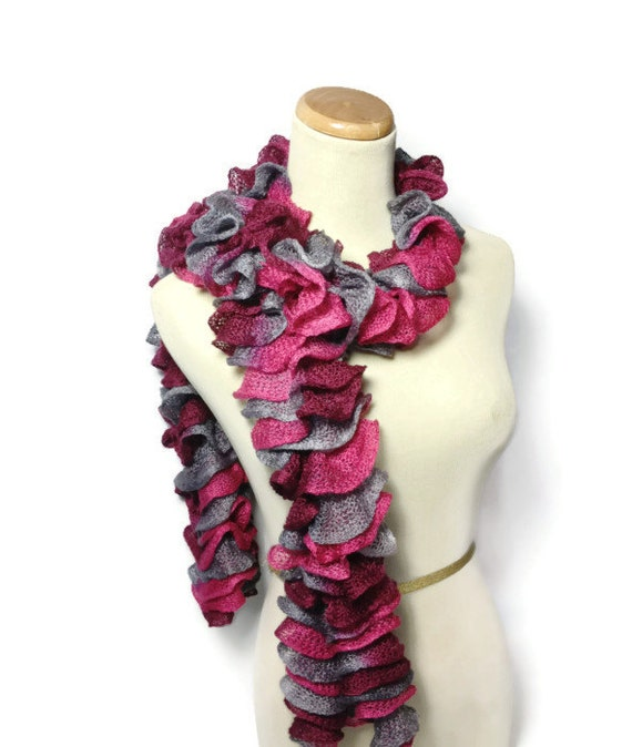Hand Knit Ruffled Scarf - Pink Burgundy Gray