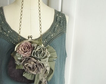 handdyed corsage and purse, old linen roses, rose and grape
