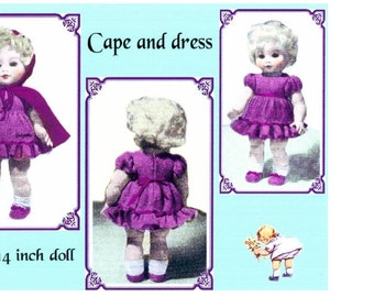 DOLL Knitting Pattern  - Sunday Best outfit - Cape/Cloak and Dress 2ply 14 inch height doll