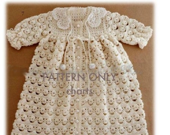 Crochet Pattern - Baby Crochet Coat/ Gown/ Jacket - CHARTED ONLY No written instructions  0-3 months