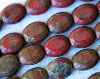 Picasso Czech Glass Beads - Puffed Ovals - Opaque Red Picasso - Small Oval Beads - Bead Soup