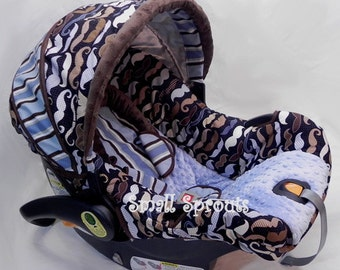 Mustache/Moustache Love with Denim Blue Minky Dot Infant Car Seat Cover 5 piece set