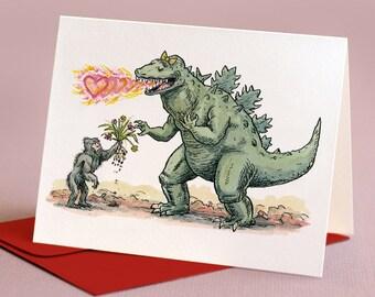 Sasquatch and Love-zilla,  individual valentine card.
