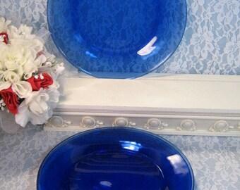 Pyrex Cobalt Blue Glass Dinner Plate Set of Four, Excellent Condition, Vintage Glass Dinnerware, Vintage Kitchen, Mid Century Dinnerware
