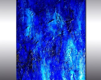 Original Textured Blue Abstract Painting, Huge  Contemporary Modern Canvas art by Henry Parsinia Large 48x36