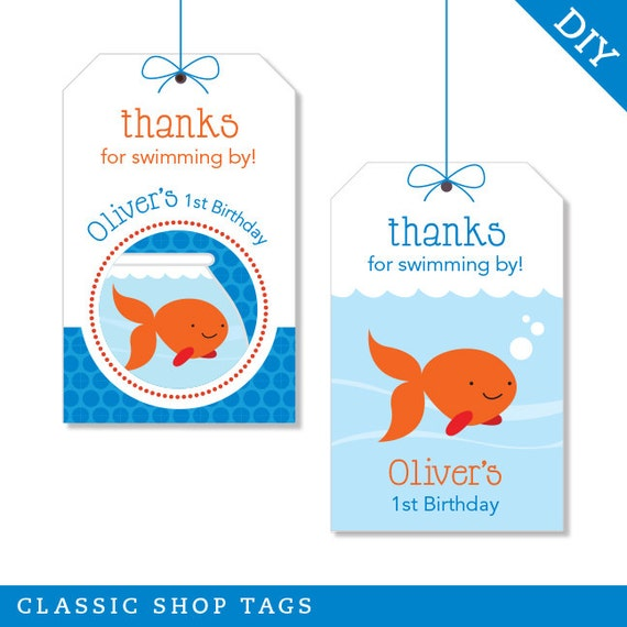 Goldfish Party - Personalized DIY printable favor tags