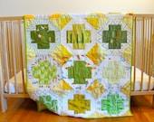 Green and Yellow Churn Dash Crib Quilt