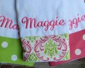 Personalized burp cloth set