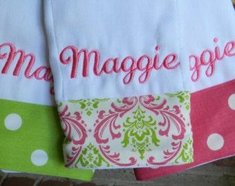 Personalized monogram burp cloth set/girl baby shower gift