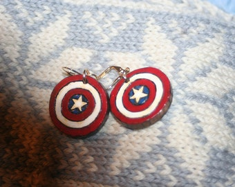 Captain America earrings, gold plated leverback, one inch, walnut