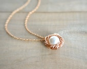 Birdnest Pendant - 1 Pearl Wrapped in 14K Rose Gold Filled Wire -  mom, mother, kids, children, grandmother, Mother's Day