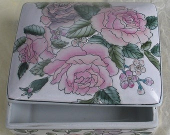 SALE Rose Ceramic Box Made in Macau