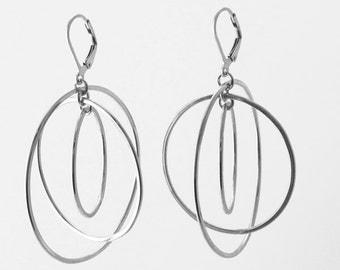 Sterling Silver Tri-Orbit Earrings