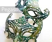 Sea Nymph Green Masquerade Mask base (1 Mask) Ballroom masquerade mask for a Mardi Gras, Halloween, Wedding, New year or Costume Party - M1