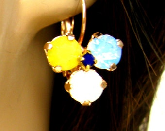 Opal crystal earrings white yellow seafoam Pansy flower Earrings Matte Gold plated leverback Swarovski crystal Pansy Earrings