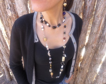 Eclectic Long Necklace - Pearls - Wood - Glass - Metal - Bone - Ceramic - Sterling Silver