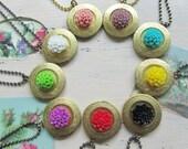 Flower Locket Necklace, Round Bright Chrysanthemum Locket, Summer Fashion,Bridesmaids Gifts