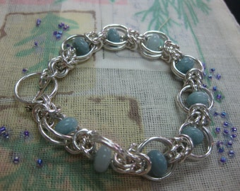 Aquamarine and Sterling Silver Hand Wrought Wire Wrap Bracelet
