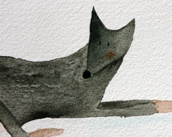 Original doberman watercolor painting, black dog lying down, whimsical, pet, simple, children's art, nursery art, pet