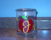 Personalized teacher gift glass candy jar with apple, polka dots and lollypop