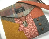 Crossbody Purse iPhone pocket, Recycled mens suit coat , gray brown plaid wool, Eco Friendly, Ready To Ship