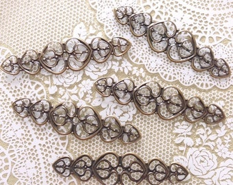 Heart Wrap Vintage Bronze Filigree Connectors