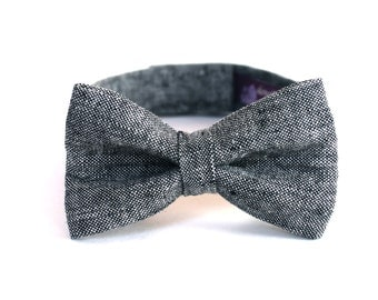 Boy's Bow Tie - Charcoal Grey Linen - any size - Gray Ring Bearer Kids Bowtie - boys bowtie