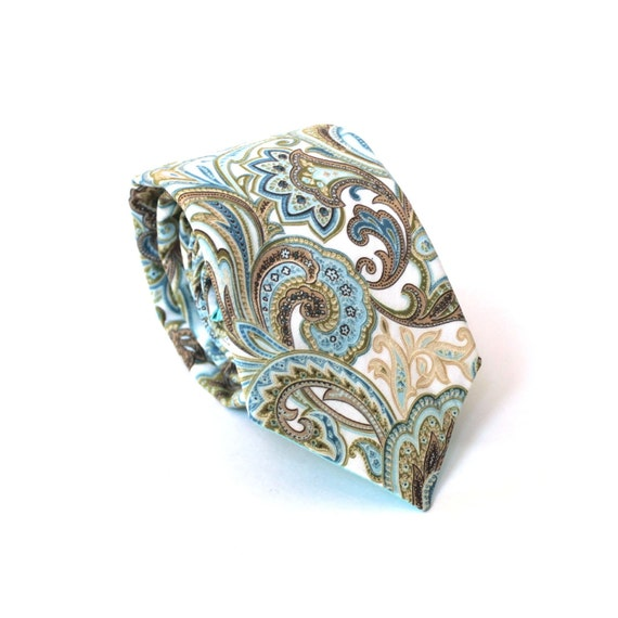 Men's Tie - Blue and Tan Paisley